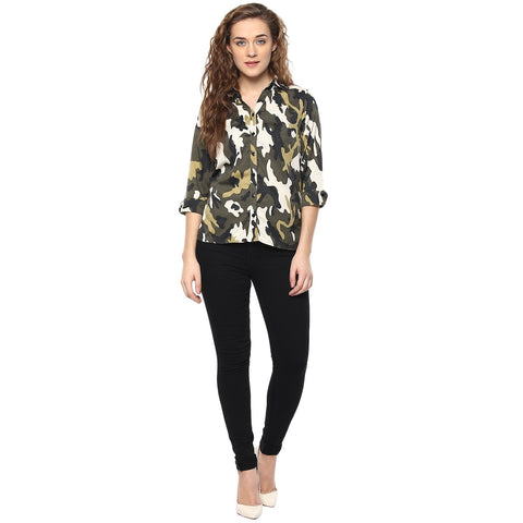 Green Color Polyster Women Shirt - SFSHRT204A