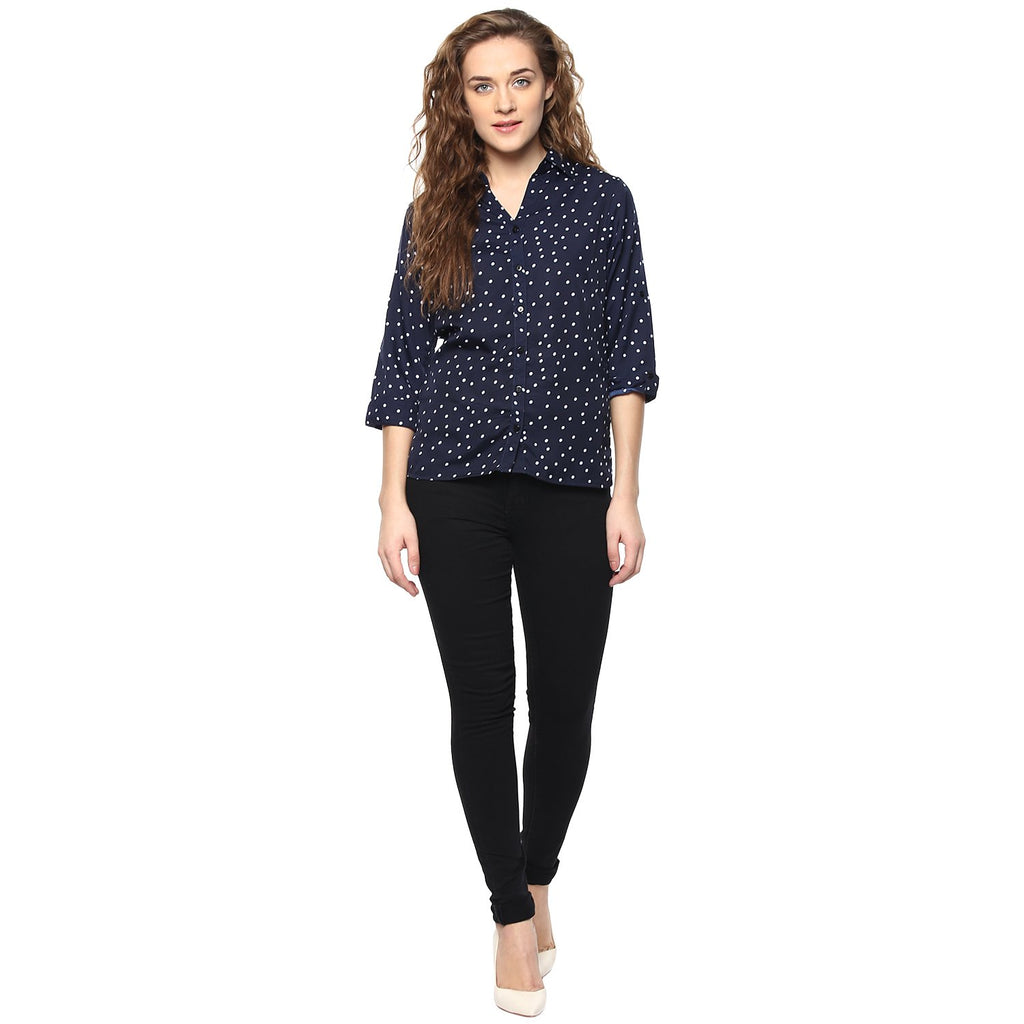 Navy Blue Color Polyster Women Shirt