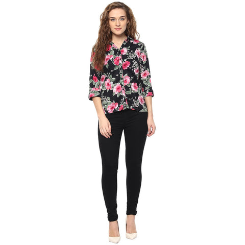 Black Color Polyster Women Shirt - SFSHRT206A