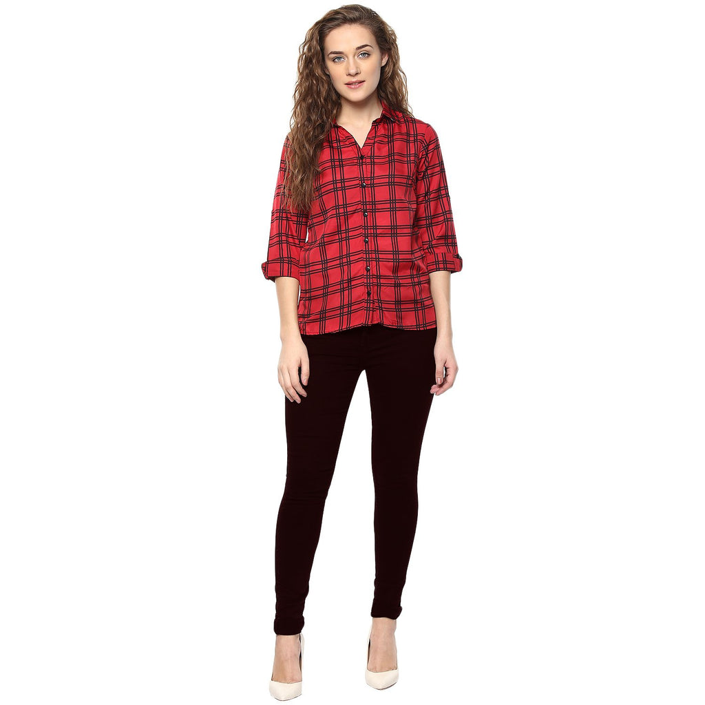 Black and Red Color Polyster Women Shirt