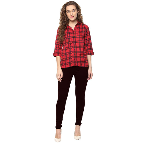 Black and Red Color Polyster Women Shirt - SFSHRT519A