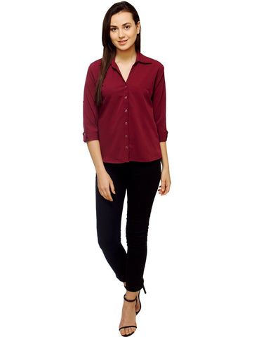 Maroon Color Polyster Women Shirt - SFSHRT520