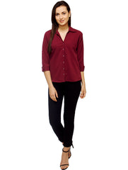 Maroon Color Polyster Women Shirt