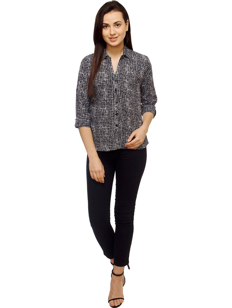 Black and White Color Polyster Women Shirt