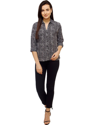 Black and White Color Polyster Women Shirt - SFSHRT521