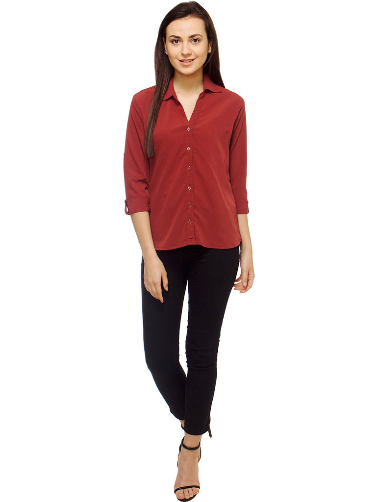 Red Color Polyster Women Shirt