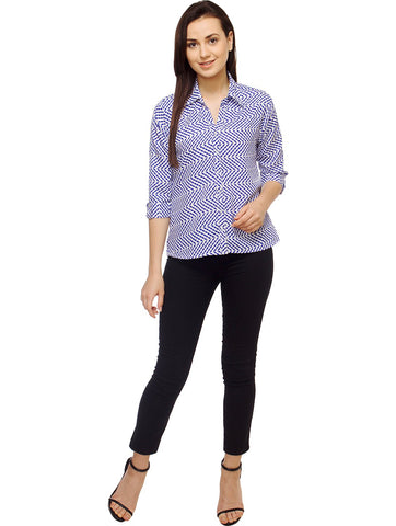 White and Blue Color Polyster Women Shirt - SFSHRT524