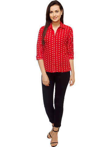 White and Red Color Polyster Women Shirt - SFSHRT525