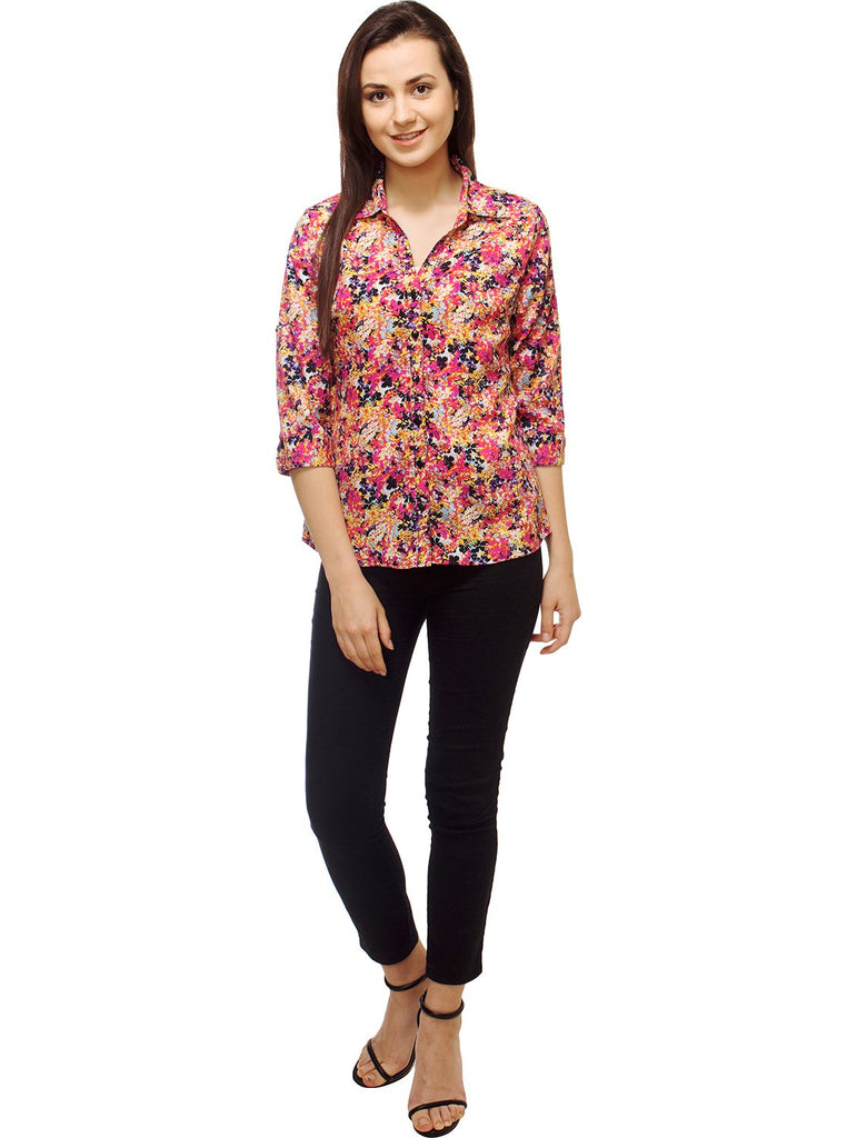 Multi Color Polyster Women Shirt
