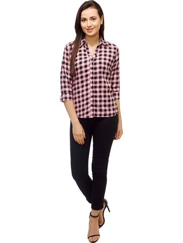 Pink and Black Color Polyster Women Shirt - SFSHRT527