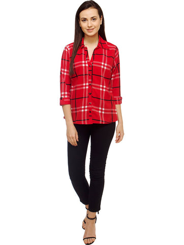 White and Red Color Polyster Women Shirt - SFSHRT531