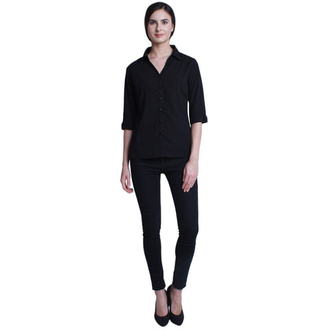 Black Color Crepe Women Shirt - SFSHRTBLK511