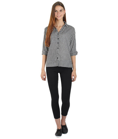 White and Black Color Polyster Women Shirt - SFSHRTBWCHK514
