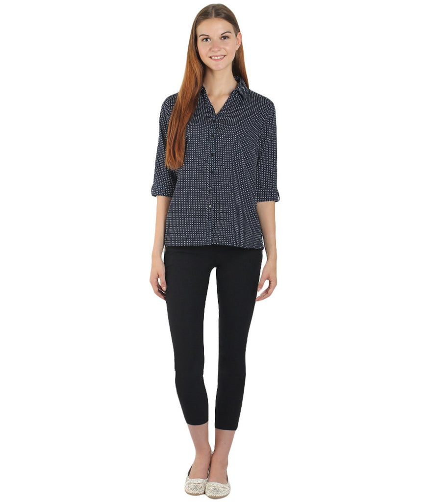 Dark Blue and White Color Polyster Women Shirt