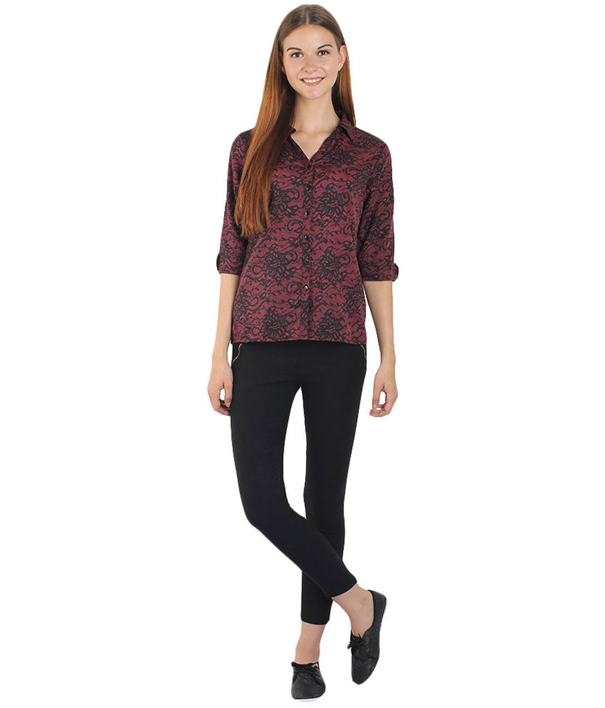 Maroon and Black Color Polyster Women Shirt