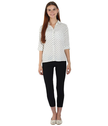 White Color Polyster Women Shirt - SFSHRTWHHPT516