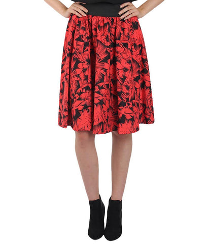Red Color Polyster Ready Made Skirt - SFSK559