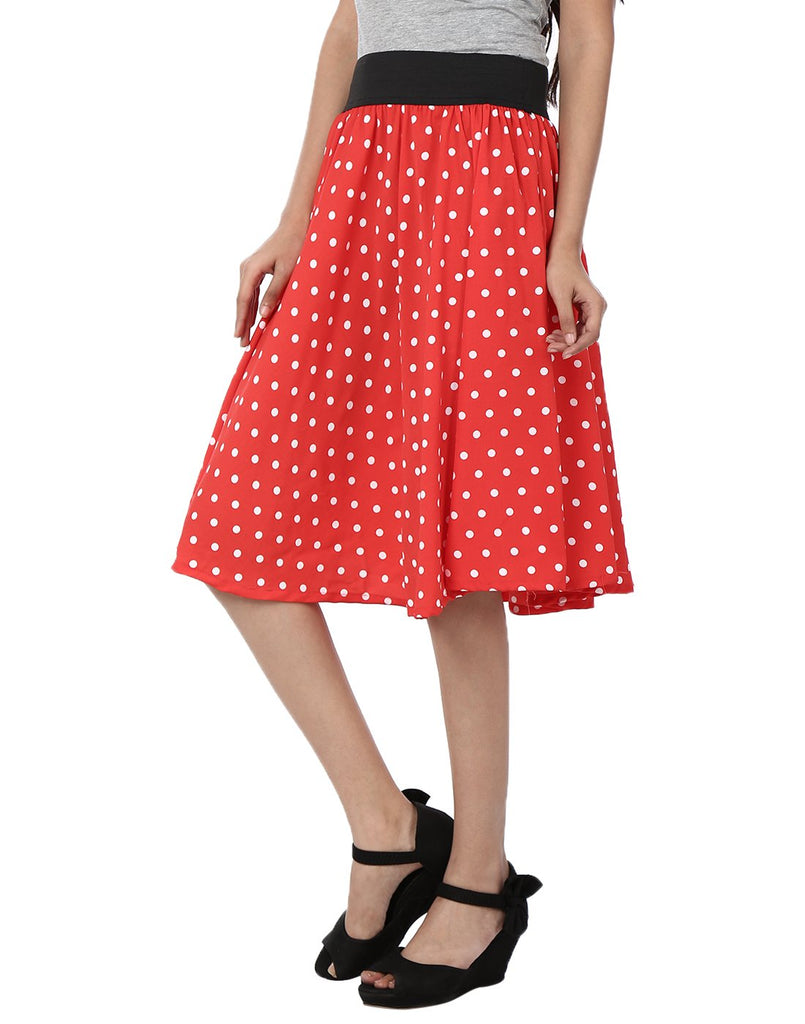 Red With White Color Polyster Ready Made Skirt