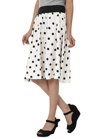 White With Black Color Polyster Ready Made Skirt - SFSK602A