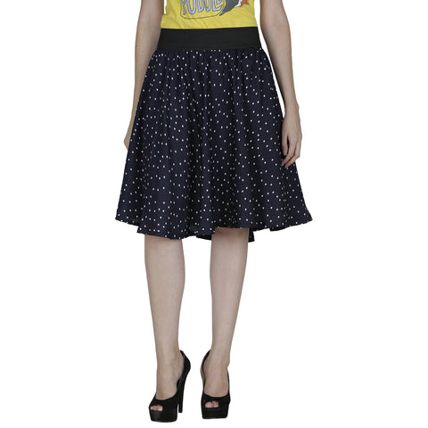 Navy Blue Color Polyster Ready Made Skirt - SFSK605A