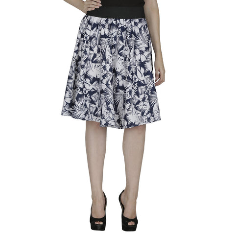 Navy Blue Color Polyster Ready Made Skirt - SFSK609A