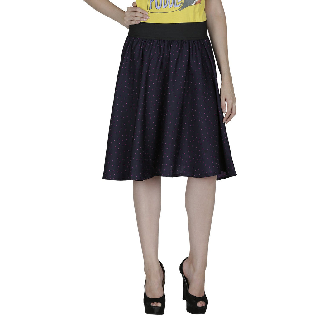 Dark Blue Color Polyster Ready Made Skirt