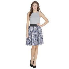 Blue  Color Polyster Ready Made Skirt - SFSK651A
