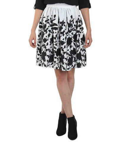 White Color Polyster Ready Made Skirt - SFSK658