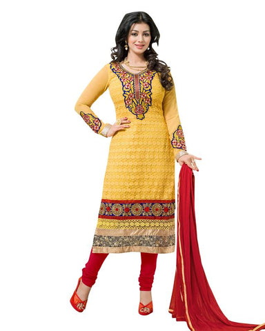 Yellow Color Georgette Un Stitched  Salwar  - SFST-AT1007