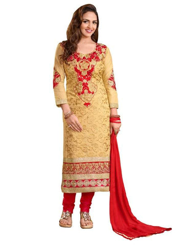 Beige Color Cotton Un Stitched Salwar - SFST-KED03