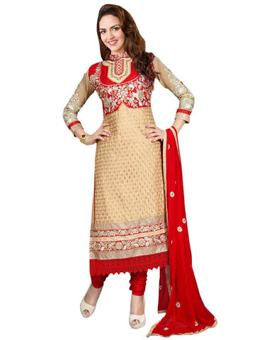Beige Color Cotton Un Stitched Salwar - SFST-KESG08