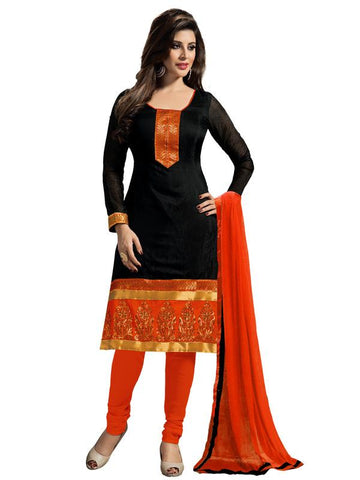 Black Color Chanderi Un Stitched Salwar - SFST-KFM102