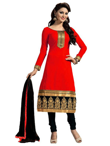 Red Color Chanderi Un Stitched Salwar - SFST-KFM104