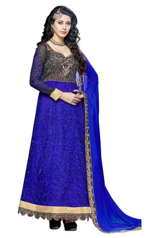 Blue Color Net and Chiffon Un Stitched Salwar - SFST-KMIXKCKSP35008