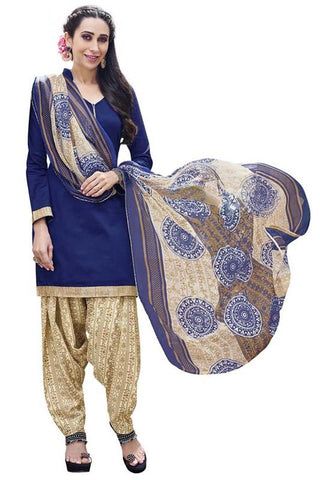 Blue Color Cotton Un Stitched Salwar - SFST-KMIXRPSP1010009