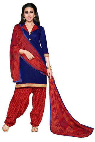 Blue Color Cotton Un Stitched Salwar - SFST-KMIXRPSP28010