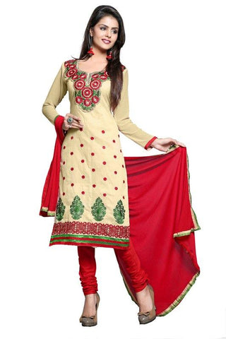 Beige Color Chanderi Un Stitched Salwar - SFST-KPR1001