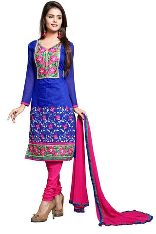 Blue Color Chanderi Un Stitched Salwar - SFST-KPR1002