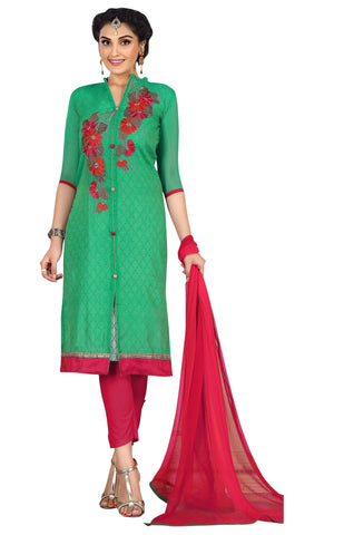 Green Color Chanderi Un Stitched Salwar - SFST-KPRQ002