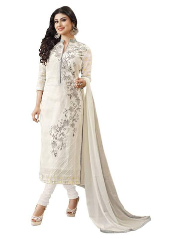 White Color Cotton Un Stitched Salwar - SFST-MNI1008
