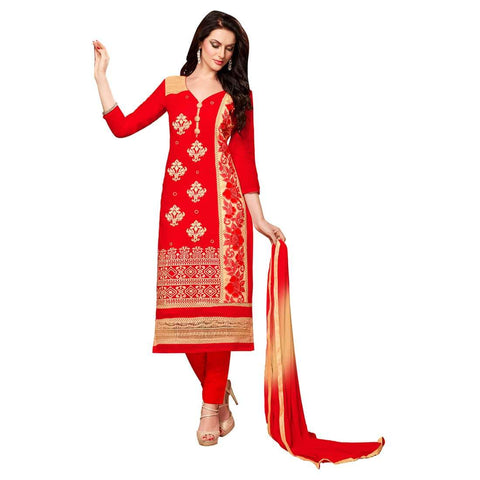 Red Color Cotton Un Stitched Salwar - SFST-MSMEXT1403