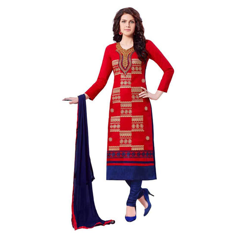 Red Color Cotton Un Stitched Salwar - SFST-MSMQN1353