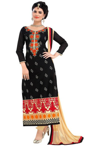 Black Color Chanderi Un Stitched Salwar - SFST-MSMSFR2002