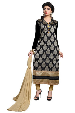 Black  Color Chanderi Un Stitched Salwar - SFST-MSMSYA1108