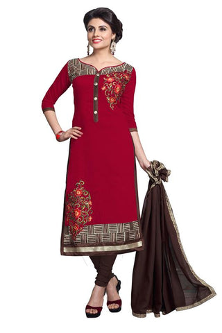 Red  Color Chanderi Un Stitched Salwar - SFST-MSMSYA1114