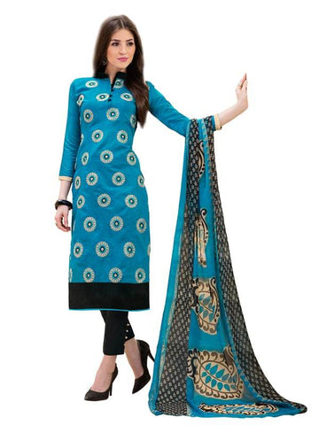 Blue Color Cotton Un Stitched Salwar - SFST-SMFAG51001