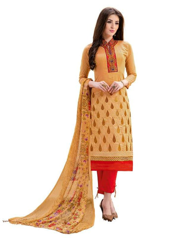 Beige Color Cotton Un Stitched Salwar - SFST-SMFAG51007