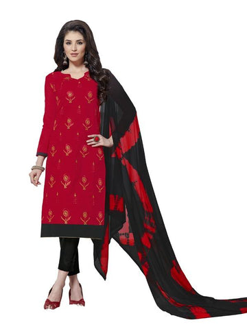 Red Color Cotton Un Stitched Salwar - SFST-SMFAG61016