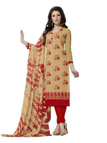 Beige Color Cotton Un Stitched Salwar - SFST-SMFAG61021