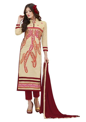 Beige Color Cotton Un Stitched Salwar - SFST-SMFAGM3003